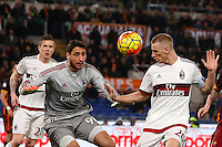 Calcio, Serie A: Roma vs Milan. Roma, stadio Olimpico, 9 gennaio 2016.<br /> AC Milan's Ignazio Abate, right, heads the ball past his goalkeeper Gianluigi Donnarumma, during the Italian Serie A football match between Roma and Milan at Rome's Olympic stadium, 9 January 2016.<br /> UPDATE IMAGES PRESS/Riccardo De Luca