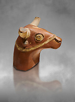 Hittite terra cotta bull head - 17th -16th century BC- Hattusa ( Bogazkoy ) - Museum of Anatolian Civilisations, Ankara, Turkey . Against grey art background