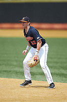 Virginia Cavaliers first baseman Nate Eikhoff (32) on defense against the Wake Forest Demon Deacons at David F. Couch Ballpark on May 19, 2018 in  Winston-Salem, North Carolina. The Demon Deacons defeated the Cavaliers 18-12. (Brian Westerholt/Four Seam Images)