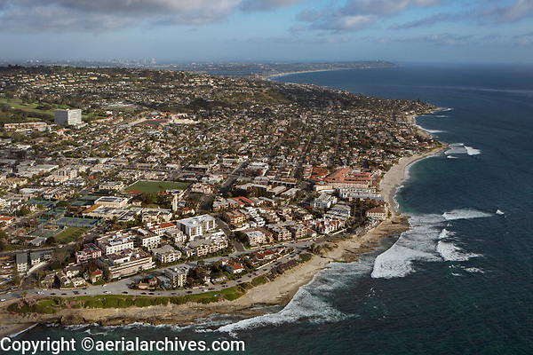 aerial photograph of La Jolla, San Diego, County, California; the San Diego skyline is in the background