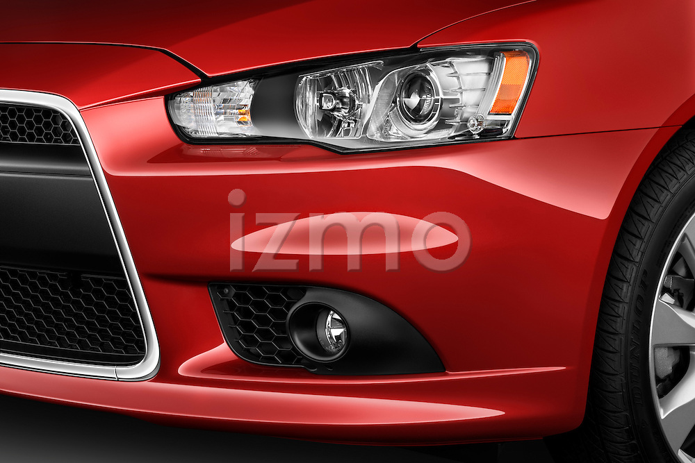 Front head light detail view on a 2012 Mitsubishi Lancer GT Touring