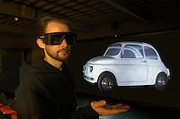 - University of Milan - Bovisa, department of Design, laboratory of Virtual Models, three-dimensional projection of a Fiat 500 car....- Università di Milano - Bovisa, facoltà di Design, laboratorio Modelli Virtuali, proiezione tridimensionale di un' automobile Fiat 500