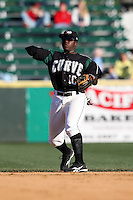 April 10, 2010:  Third Baseman Josh Harrison of the Altoona Curve during a game at Blair County Ballpark in Altoona, PA.  Altoona is the Double-A Eastern League affiliate of the Pittsburgh Pirates.  Photo By Mike Janes/Four Seam Images
