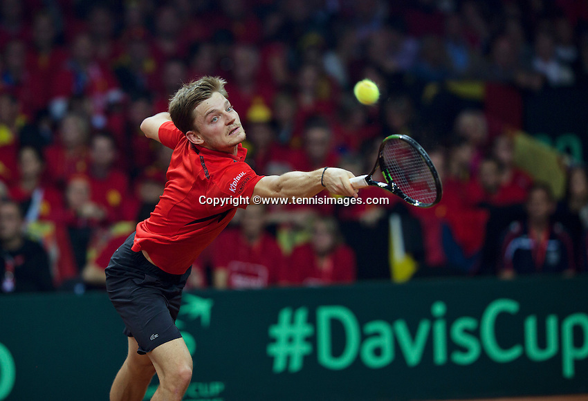 Gent, Belgium, November 27, 2015, Davis Cup Final, Belgium-Great Britain, First match, David Goffin (BEL)<br /> © Henk Koster/Alamy Live News