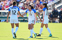 Cary, NC - Sunday October 22, 2017: Christen Press celebrates her goal with Lynn Williams and Alex Morgan celebrates her goal with Alex Morgan during an International friendly match between the Women's National teams of the United States (USA) and South Korea (KOR) at Sahlen's Stadium at WakeMed Soccer Park.