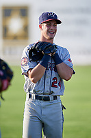 Mahoning Valley Scrappers shortstop Ernie Clement (24) warms up before a game against the Batavia Muckdogs on August 16, 2017 at Dwyer Stadium in Batavia, New York.  Batavia defeated Mahoning Valley 10-6.  (Mike Janes/Four Seam Images)