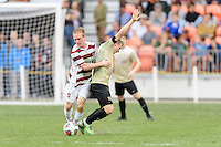 Houston, TX - Friday December 11, 2016: Derek Waldeck (29) of the Stanford Cardinal and Brad Dunwell (12) of the Wake Forest Demon Deacons battle for a control of the ball at the NCAA Men's Soccer Finals at BBVA Compass Stadium in Houston Texas.