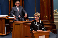 Ontario Premier Kathleen Wynne speaks at the National Assembly in Quebec City September 21, 2017.<br /> <br /> PHOTO :  Francis Vachon - Agence Quebec Presse