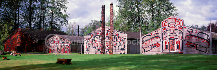 Ksan Historical Village and Museum in Hazelton, Northern BC, British Columbia, Canada - a Replicated Gitxsan (Gitksan aka Tsimshian) First Nations Native Indian Village, Totem Poles and Tribal Plank Houses