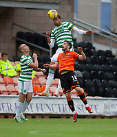 22nd August 2020; Tannadice Park, Dundee, Scotland; Scottish Premiership Football, Dundee United versus Celtic; Christopher Jullien of Celtic competes wins the header from Nicky Clark of Dundee United