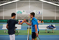 Rotterdam, The Netherlands, 07.03.2014. NOJK ,National Indoor Juniors Championships of 2014, 12and 16 years, Ruben Konings congratulates Bart Stevens (R) who makes it to the final<br /> Photo:Tennisimages/Henk Koster