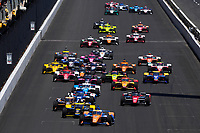 30th May 2021, Indianapolis, Indiana, USA;  NTT Indy Car Series driver Scott Dixon (9) leads the field on the first lap at the start during the 105th running of the Indianapolis 500 on May 30, 2021 at the Indianapolis Motor Speedway in Indianapolis, Indiana.