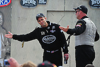Aug. 7, 2011; Kent, WA, USA; NHRA top fuel dragster driver Bob Vandergriff Jr (right) jokes around with Larry Dixon during the Northwest Nationals at Pacific Raceways. Mandatory Credit: Mark J. Rebilas-