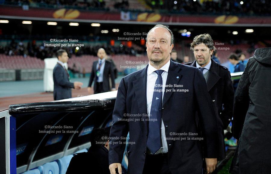 - NAPOLI 27 FEB - Calcio Europa League Stadio San Paolo.    Napoli - Swansea  sedicesimi di filale di Europa League. Nella foto Benitez
