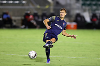 CARY, NC - AUGUST 01: Sam Brotherton #5 passes the ball during a game between Birmingham Legion FC and North Carolina FC at Sahlen's Stadium at WakeMed Soccer Park on August 01, 2020 in Cary, North Carolina.