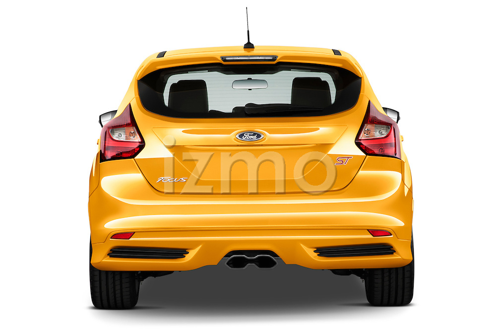 Straight rear view of 2013 Ford Focus ST Hatchback Stock Photo