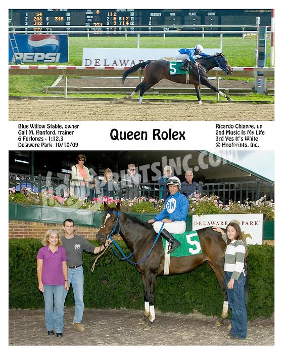 Queen Rolex winning at Delaware Park on 10/10/09