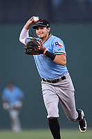 Second baseman Kole Enright (22) throws to first base during a game against the Greenville Drive on Monday, August 20, 2018, at Fluor Field at the West End in Greenville, South Carolina. Hickory won, 11-2. (Tom Priddy/Four Seam Images)