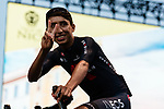 Defending Champion Egan Bernal (COL) Team Ineos Grenadiers on stage at the team presentation before the Tour de France 2020, Nice, France. 27th August 2020.<br /> Picture: ASO/Thomas Maheux   Cyclefile<br /> All photos usage must carry mandatory copyright credit (© Cyclefile   ASO/Thomas Maheux)