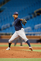 Jhonleider Salinas (31) delivers a pitch during the Tampa Bay Rays Instructional League Intrasquad World Series game on October 3, 2018 at the Tropicana Field in St. Petersburg, Florida.  (Mike Janes/Four Seam Images)