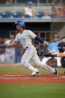 Dunedin Blue Jays second baseman Ivan Castillo (1) during a game against the Charlotte Stone Crabs on June 5, 2018 at Charlotte Sports Park in Port Charlotte, Florida.  Dunedin defeated Charlotte 9-5.  (Mike Janes/Four Seam Images)