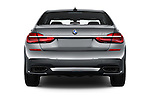 Straight rear view of 2016 BMW 7 Series M Sport 4 Door Sedan Rear View  stock images