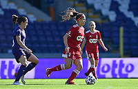 Laura Miller (9) of Standard pictured with Noemie Gelders (18) of Anderlecht during a female soccer game between RSC Anderlecht Dames and Standard Femina de Liege on the sixth matchday of the 2021 - 2022 season of Belgian Womens Super League , saturday 9 th of October 2021  in Brussels , Belgium . PHOTO SPORTPIX   DAVID CATRY