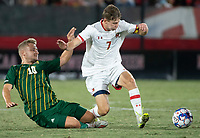 COLLEGE PARK, MD - SEPTEMBER 3: George Mason University midfielder Louis lehr (10) tackles Maryland University forward Hunter George (7) during a game between George Mason University and University of Maryland at Ludwig Field on September 3, 2021 in College Park, Maryland.
