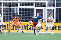 FOXBOROUGH, MA - JULY 25: Matt Polster #8 of New England Revolution takes a shot on goal during a game between CF Montreal and New England Revolution at Gillette Stadium on July 25, 2021 in Foxborough, Massachusetts.