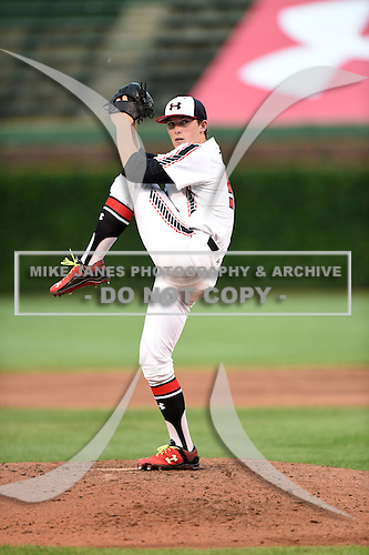 Beau Burrows (55) of Weatherford High School in Weatherford, Texas during the Under Armour All-American Game on August 16, 2014 at Wrigley Field in Chicago, Illinois.  (Mike Janes/Four Seam Images)