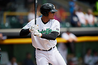 Clinton LumberKings left fielder Gareth Morgan (44) at bat during a game against the Lansing Lugnuts on May 9, 2017 at Ashford University Field in Clinton, Iowa.  Lansing defeated Clinton 11-6.  (Mike Janes/Four Seam Images)