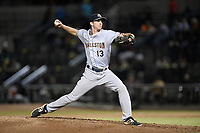 Pitcher Aaron McGarity (13) of the Charleston RiverDogs delivers a pitch in a game against the Columbia Fireflies on Thursday, April 4, 2019, at Segra Park in Columbia, South Carolina. Charleston won, 2-1. (Tom Priddy/Four Seam Images)