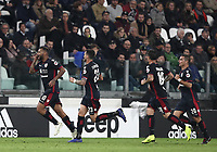 Calcio, Serie A: Juventus - Caglairi, Turin, Allianz Stadium, November 3, 2018.<br /> Cagliari's Joao Pedro (l) celebrates after scoring with his teammates during the Italian Serie A football match between Juventus and Cagliari at Torino's Allianz stadium, November 3, 2018.<br /> UPDATE IMAGES PRESS/Isabella Bonotto