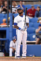 Dunedin Blue Jays shortstop Jose Reyes (7) - on rehab assignment from the Toronto Blue Jays - reacts to a pitch during a game against the Daytona Cubs on April 16, 2014 at Florida Auto Exchange Stadium in Dunedin, Florida.  Dunedin defeated Daytona 5-1.  (Mike Janes/Four Seam Images)