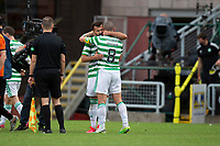 22nd August 2020; Tannadice Park, Dundee, Scotland; Scottish Premiership Football, Dundee United versus Celtic; Albian Ajeti of Celtic celebrates the teams 0-1 win at the end of the match with Scott Brown