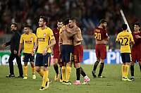 Football Soccer: UEFA Champions League AS Roma vs Atletico Madrid Stadio Olimpico Rome, Italy, September 12, 2017. <br /> Roma's players greets Atletico Madrid's players at the end of the Uefa Champions League football soccer match between AS Roma and Atletico Madrid at at Rome's Olympic stadium, September 12, 2017.<br /> UPDATE IMAGES PRESS/Isabella Bonotto