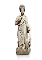 Roman statue of Nemesisgoddess of  retribution. Marble. Perge. 2nd century AD. Inv no 28.23.79. Antalya Archaeology Museum; Turkey. Against a white background.