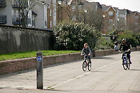 The Thames footpath and cycle route at Thamesmead, southeast London, UK