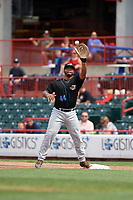 Akron RubberDucks first baseman Bobby Bradley (44) stretches for a throw during a game against the Erie SeaWolves on August 27, 2017 at UPMC Park in Erie, Pennsylvania.  Akron defeated Erie 6-4.  (Mike Janes/Four Seam Images)