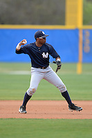 Second baseman Angelo Gumbs (21) of the New York Yankees organization during a minor league spring training game against the Toronto Blue Jays on March 16, 2014 at the Englebert Minor League Complex in Dunedin, Florida.  (Mike Janes/Four Seam Images)