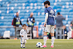 Isco Alarcon of Real Madrid and his son after the La Liga match between Real Madrid and Deportivo Alaves at the Santiago Bernabeu Stadium on 02 April 2017 in Madrid, Spain. Photo by Diego Gonzalez Souto / Power Sport Images