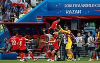 KAZAN - RUSIA, 27-06-2018: República de Corea y Alemania en partido de la primera fase, Grupo F, por la Copa Mundial de la FIFA Rusia 2018 jugado en el estadio Kazan Arena en Kazán, Rusia. / Korea Republic and Germany in match of the first phase, Group F, for theFIFA World Cup Russia 2018 played at Kazan Arena stadium in Kazan, Russia. Photo: VizzorImage / Julian Medina / Cont