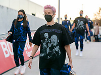 ORLANDO, FL - JANUARY 18: Megan Rapinoe #15 of the USWNT walks into the venue before a game between Colombia and USWNT at Exploria Stadium on January 18, 2021 in Orlando, Florida.