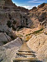 Ladder on Notch Trail. Badlands National Park, South Dakota.