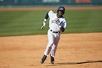 Malachi Hanes (11) of the Catawba Indians hustles towards third base against the Wingate Bulldogs at Newman Park on March 19, 2017 in Salisbury, North Carolina. The Indians defeated the Bulldogs 12-6. (Brian Westerholt/Four Seam Images)