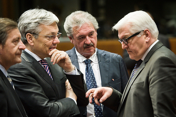 Slovenian Foreign Minister Karl Erjavec, Foreign Relations Minister of Belgium, Didier Reynders, Luxemburgian Foreign Minister Jean Asselborn and German Foreign Minister Frank Walter-Steinmeier    prior to the European Union Foreign Ministers Council at EU headquarters  in Brussels, Belgium on 29.01.2015 Federica Mogherini , EU High representative for foreign policy called extraordinary meeting on the situation in Ukraine after the attack on Marioupol.  by Wiktor Dabkowski