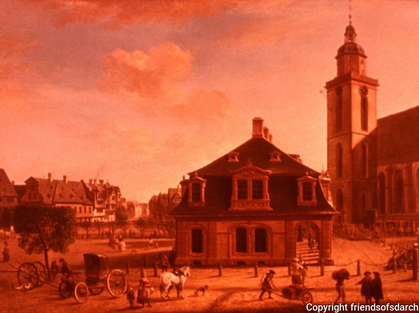 Frankfurt: Die Hauptwache von Ch. G. Schutz d. A. um 1750. Reference only.