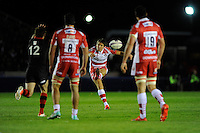 James Hook of Gloucester Rugby slices a drop goal attempt