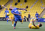 16.08.2020 Livingston v Rangers: Alfredo Morelos booked after reacting to a foul by Jack Fitzwater