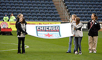 The Chicago Red Stars banner is displayed before the game.  The Chicago Red Stars tied Sky Blue FC 0-0 at Toyota Park in Bridgeview, IL on April 19, 2009.